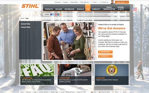 Screenshot of Contact Page FAQ Page stihlusa.com - FAQ: Frequently Asked Questions About STIHL | STIHL USA - captured Feb. 7, 2016