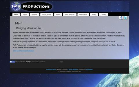 Screenshot of Home Page fmrproductions.com - FMR Productions | Main - captured Sept. 30, 2014