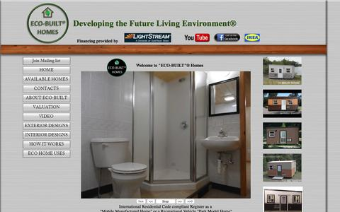 Screenshot of Home Page ecobuilthomes.com - eco built manufactured home, Recreational Tiny home, Eco Built Homes - captured March 5, 2016