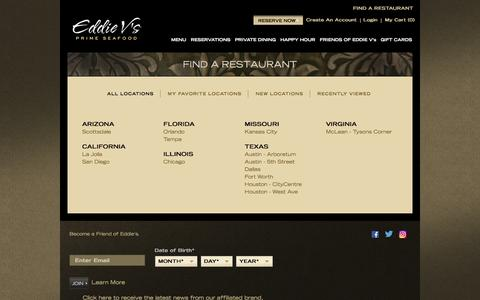 Screenshot of Menu Page eddiev.com - Find A Restaurant | Eddie V's Prime Seafood Restaurant - captured Sept. 24, 2016