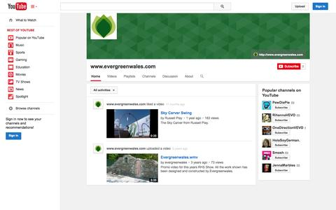 Screenshot of YouTube Page youtube.com - www.evergreenwales.com  - YouTube - captured Oct. 28, 2014