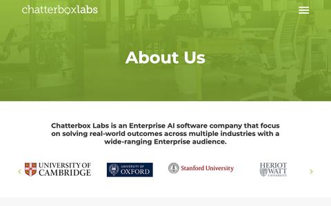 Screenshot of About Page chatterbox.co - About Us - Chatterbox Labs - captured March 13, 2019