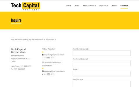 Screenshot of Contact Page techcapital.com - Contact | Tech Capital Partners - captured Oct. 26, 2014