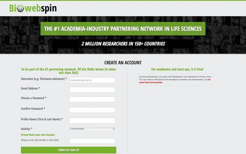 Screenshot of Signup Page biowebspin.com - Create an Account  Biowebspin   Biowebspin - captured Aug. 4, 2017