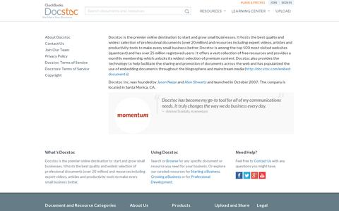 Screenshot of About Page docstoc.com - About - captured July 20, 2014