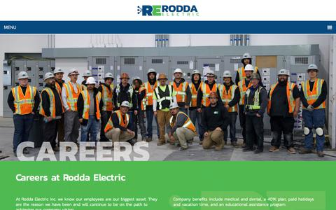 Screenshot of Jobs Page roddaelectric.com - Careers - Rodda Electric - captured July 31, 2018