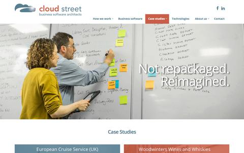 Screenshot of Case Studies Page cloudstreet.co.uk - Case Studies | Cloud Street | Bespoke Business Software Architects - captured Sept. 28, 2018