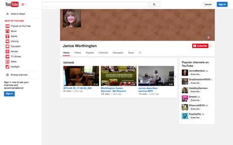 Screenshot of YouTube Page youtube.com - Janice Worthington  - YouTube - captured Oct. 26, 2014
