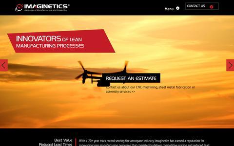 Screenshot of Home Page imagineticsllc.com - Imaginetics  Imaginetics   Aerospace Manufacturing and Assembly - captured Sept. 12, 2018