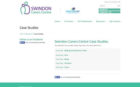 Screenshot of Case Studies Page swindoncarers.org.uk - Case Studies | Swindon Carers Centre - captured Oct. 9, 2014