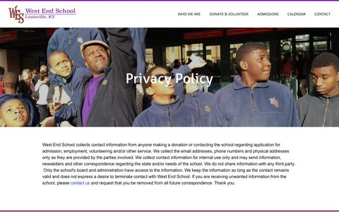 Screenshot of Privacy Page westendschool.org - Privacy Policy - West End School - captured Feb. 26, 2017