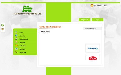 Screenshot of Terms Page mdl.co.in - Maiden distributors, pharmaceutical distributors delhi india, medicine wholesalers delhi india, carrying and forwarding agents delhi india - captured Oct. 4, 2014