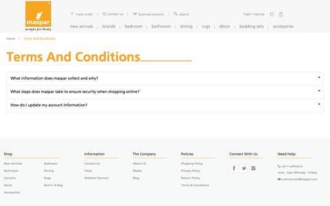 Screenshot of Terms Page maspar.com - Terms and Conditions - captured Nov. 15, 2018