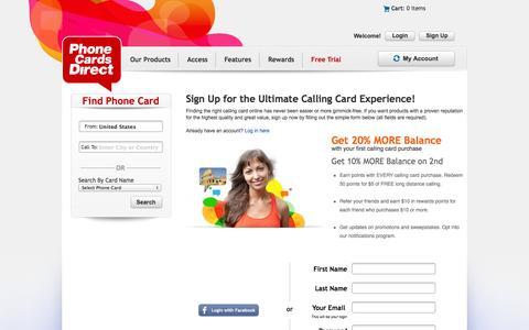 Screenshot of Signup Page phonecardsdirect.com - Sign Up - captured Oct. 29, 2014