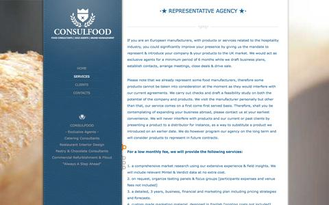Screenshot of Services Page consulfood.co.uk - ⋆★ REPRESENTATIVE AGENCY ★⋆ | Sole Agents Consulfood | London Food Consultants - captured Oct. 2, 2014