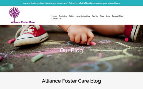 Screenshot of Blog alliancefostercare.co.uk - Updates // Alliance Foster Care - captured Oct. 8, 2017