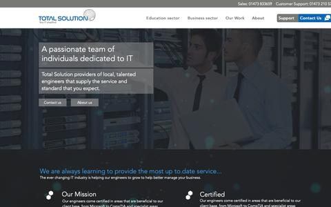 Screenshot of About Page totalsolution.co.uk - Total Solution Computing | IT Support Services in Ipswich, Suffolk | About - captured Oct. 20, 2018