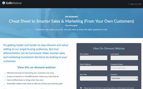 Screenshot of Landing Page gotomeeting.com - Cheat Sheet to Smarter Sales & Marketing (From Your Own Customers) - captured Oct. 12, 2017