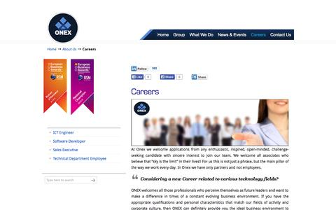 Screenshot of Jobs Page onexcompany.com - Career Opportunities | Current Open Job Positions | ONEX - captured Oct. 26, 2014