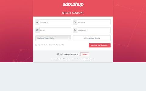 Screenshot of Signup Page adpushup.com - Sign Up - AdPushup - captured Nov. 25, 2016