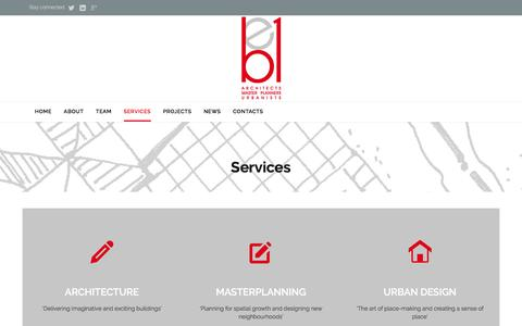 Screenshot of Services Page be1architects.co.uk - Services - BE1 Architects - captured July 28, 2016