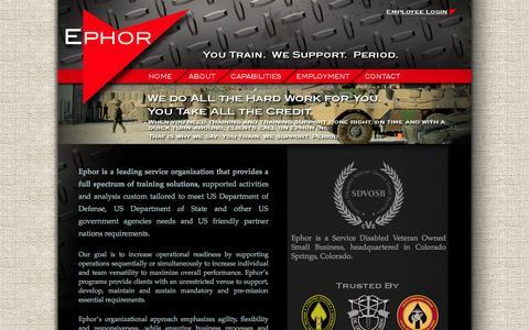 Screenshot of Home Page ephorinc.com - Ephor   You Train.  We Support.  Period. - captured Sept. 30, 2014