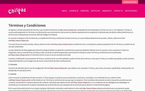 Screenshot of Terms Page chilpas.com - Términos y Condiciones   Chilpas - captured July 17, 2018