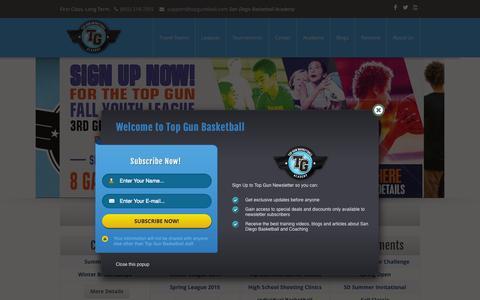 Screenshot of Home Page topgunbball.com - Top Gun Basketball Academy - San Diego Youth AAU Basketball - captured Sept. 2, 2015