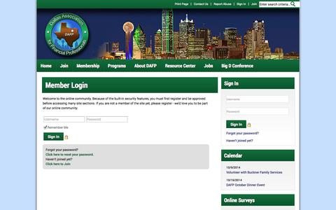 Screenshot of Login Page dallasafp.org - Dallas Association for Financial Professionals - captured Oct. 5, 2014