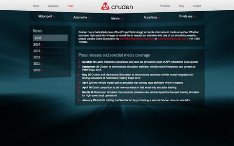 Screenshot of Press Page cruden.com - Professional vehicle development and F1 motorsport simulator engineering by Cruden BV - Cruden - captured Feb. 1, 2016