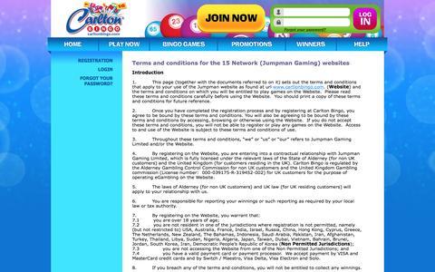 Screenshot of Terms Page carltonbingo.com - Terms & Conditions - captured Oct. 25, 2016