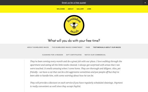 Screenshot of Testimonials Page bumblebeemaids.com - Testimonials About Our Maids — Bumblebee Maids: Home & Office Cleaning in Fort Lee, NJ - captured Oct. 29, 2014