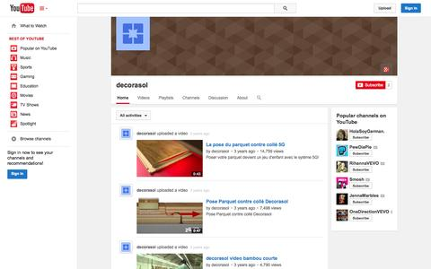 Screenshot of YouTube Page youtube.com - decorasol  - YouTube - captured Oct. 23, 2014