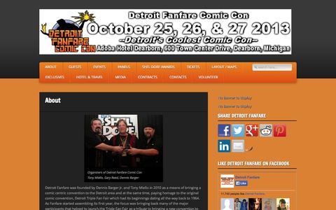 Screenshot of About Page detroitfanfare.com - Detroit Fanfare Comic Con » About - captured Oct. 5, 2014
