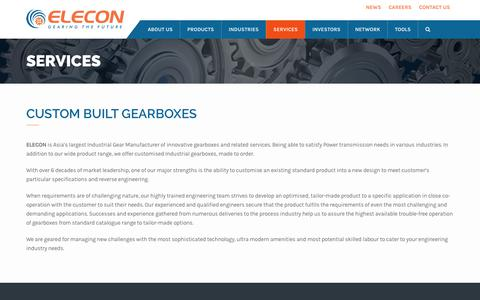Screenshot of Services Page elecon.com - Custom Built Gearboxes | Elecon - captured June 23, 2017