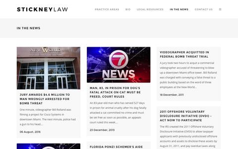 Screenshot of Press Page stickneylaw.com - In the News - South Florida Criminal Defense Attorney Robert W. Stickney - captured Dec. 1, 2016