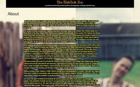 Screenshot of About Page elektrikzoo.com - About – The ElekTrik Zoo - captured April 21, 2016