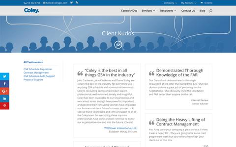 Screenshot of Testimonials Page coleygsa.com - Client Kudos - - captured July 15, 2018