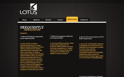 Screenshot of FAQ Page lotusllc.com - Lotus LLC Resources - captured July 17, 2016