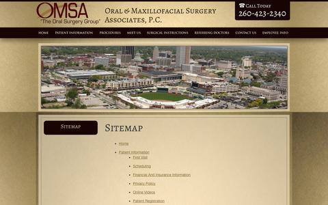 Screenshot of Site Map Page omsafw.com - Sitemap Fort Wayne IN, Oral & Maxillofacial Surgery Associates - captured Oct. 7, 2014