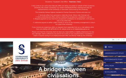 Screenshot of Home Page sorbonne.ae - Sorbonne University Abu Dhabi - Humanities, Law, Sciences - captured Sept. 26, 2018