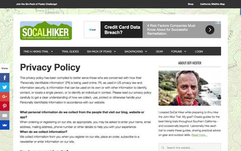 Screenshot of Privacy Page socalhiker.net - Privacy Policy - SoCal Hiker - captured Aug. 15, 2016