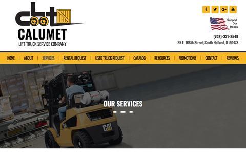 Screenshot of Services Page callift.com - Services | Forklift rental | fork lift sales | Calumet | South Holland | Hammond - captured Sept. 26, 2018