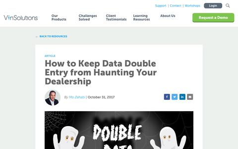 Screenshot of Blog vinsolutions.com - VinSolutions - Blog - Keep Data Double Entry from Haunting Your Dealership - captured Dec. 3, 2019