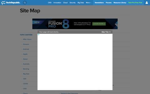 Screenshot of Site Map Page techrepublic.com - Site Map - TechRepublic - captured Dec. 7, 2015