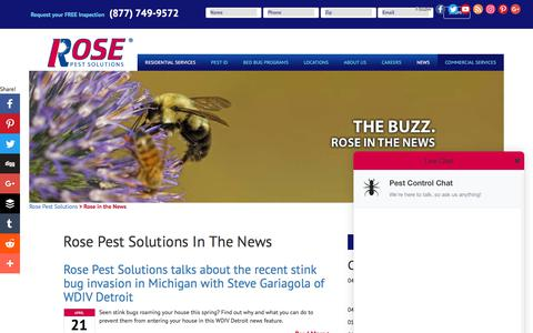 Screenshot of Press Page rosepestsolutions.com - Rose in the News - captured June 15, 2017