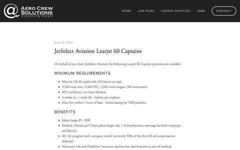 Screenshot of Jobs Page aerocrewsolutions.com - Jobs — Aero Crew Solutions - captured July 24, 2016
