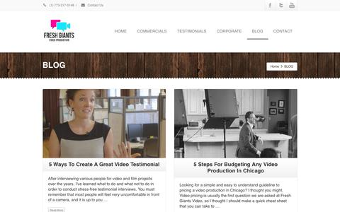 Screenshot of Blog freshgiants.com - Chicago Video Production | Fresh Giants | Video Company Blog - captured Jan. 8, 2016