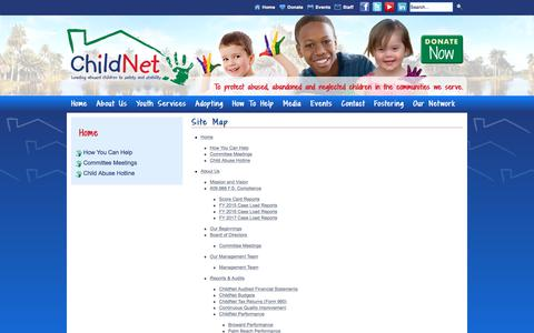 Screenshot of Site Map Page childnet.us - Site Map - ChildNet - captured July 29, 2017