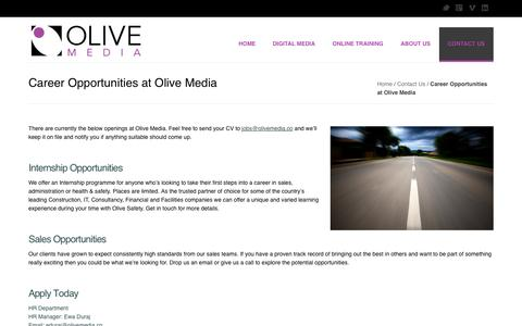 Screenshot of Jobs Page olivemedia.co - Career Opportunities at Olive Media - Olive Media - captured Oct. 26, 2014
